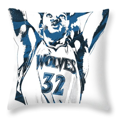 Karl Anthony Towns Throw Pillow featuring the mixed media Karl Anthony Towns Minnesota Timberwolves Pixel Art by Joe Hamilton