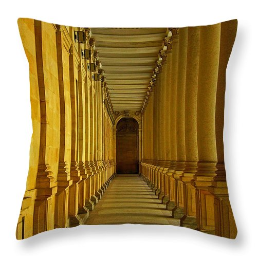 Europe Throw Pillow featuring the photograph Karlovy Vary Colonnade by Juergen Weiss