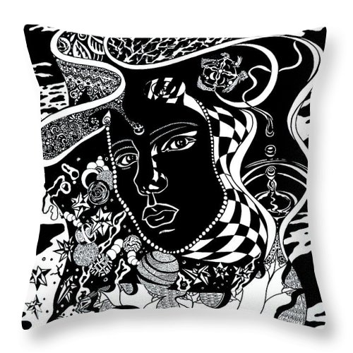 Surreal Throw Pillow featuring the drawing Karma by Yelena Tylkina
