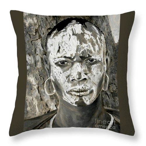 Tribal Art Throw Pillow featuring the painting Karo Man by Portraits By NC