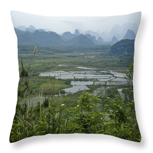 Asia Throw Pillow featuring the photograph Karst Landscape Of Guangxi by Michele Burgess
