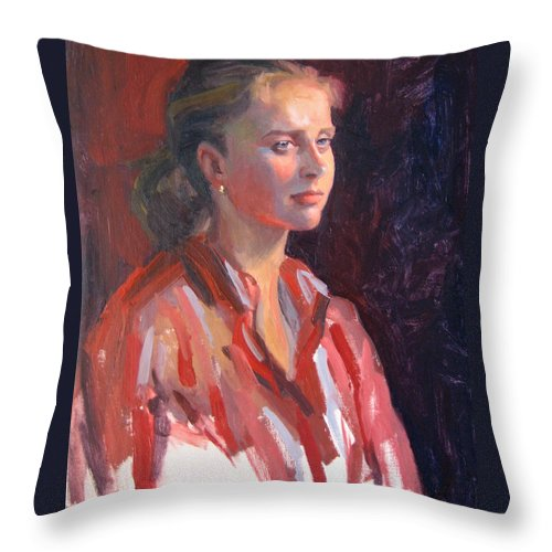 Portrait Throw Pillow featuring the painting Kate by Dianne Panarelli Miller