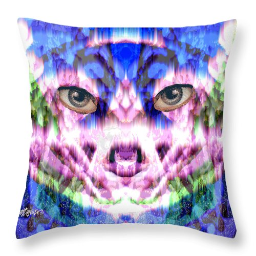 Cat Throw Pillow featuring the digital art Katechism by Seth Weaver
