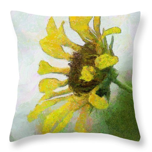 Sunflower Throw Pillow featuring the painting Kate's Sunflower by Jeffrey Kolker