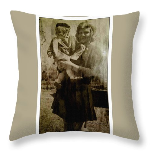 Expressive Throw Pillow featuring the photograph Kathy Holding Kelly by Lenore Senior