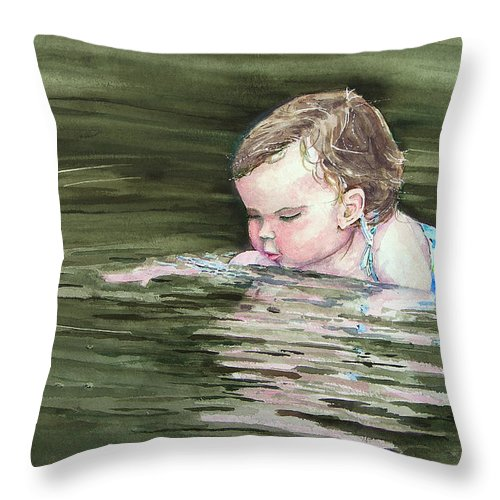 Child In River Throw Pillow featuring the painting Katie Wants A River Rock by Sam Sidders