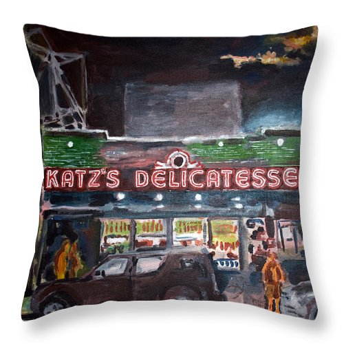New York City Paintings Throw Pillow featuring the painting Katz Deli by Wayne Pearce