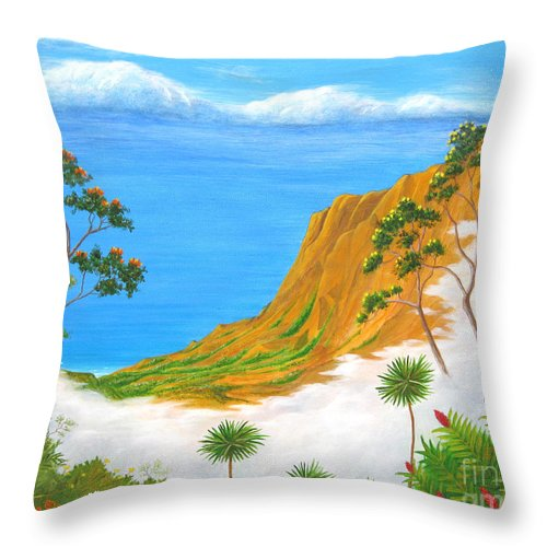 Landscape Throw Pillow featuring the painting Kauai Hawaii by Jerome Stumphauzer