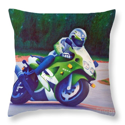 Motorcycle Throw Pillow featuring the painting Kawasaki Zx7 - In The Groove by Brian Commerford