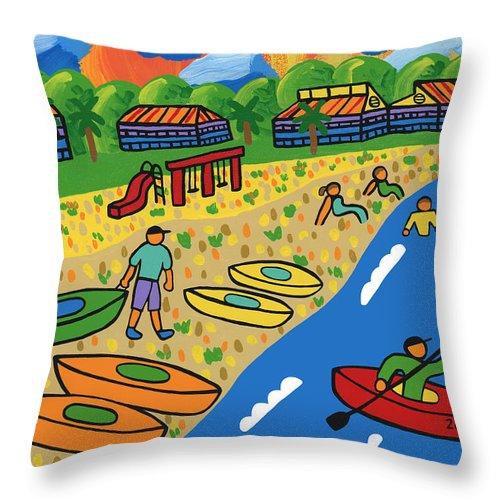 Kayak Throw Pillow featuring the painting Kayak Beach - Cedar Key by Mike Segal