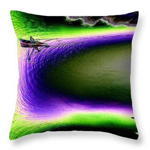 Seattle Throw Pillow featuring the digital art Kayak In The Cut by Tim Allen