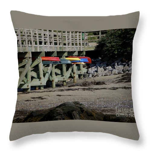Kayak Throw Pillow featuring the photograph Kayak Rack by Faith Harron Boudreau