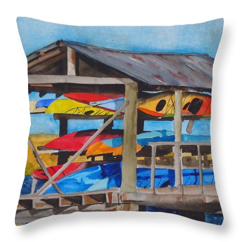 Kayak Throw Pillow featuring the painting Kayak Rainbow by Jean Blackmer
