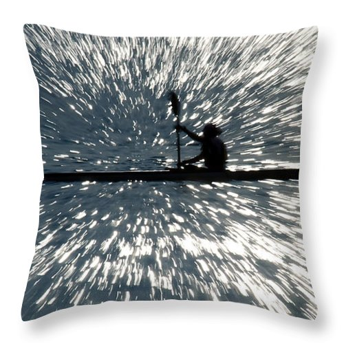 Kayak Throw Pillow featuring the photograph Kayak Zoom by Steve Somerville