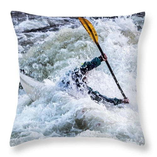 Kayak Throw Pillow featuring the photograph Kayaker In Action At Pipeline Rapids In James River 5956c by Doug Berry