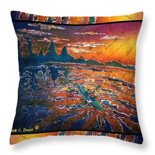 Kayak Throw Pillow featuring the painting Kayaking Serenity - Bordered by Sue Duda