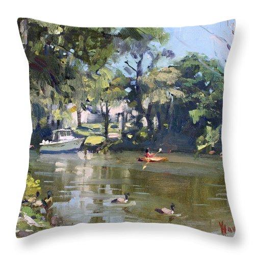 Kayaking Throw Pillow featuring the painting Kayaking by Ylli Haruni