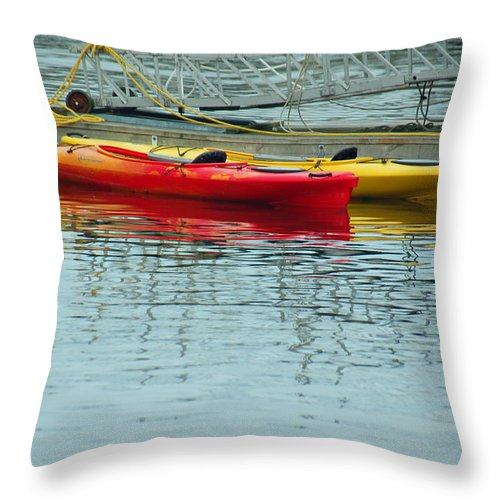 Kayak Throw Pillow featuring the photograph Kayaks by Suzanne Gaff