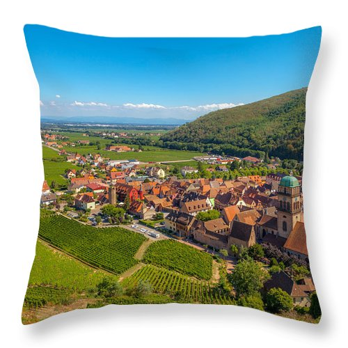 Alsace Throw Pillow featuring the photograph Kaysersberg - Along The Alsatian Wine Route by W Chris Fooshee