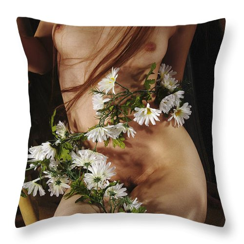 Female Nude Abstract Mirrors Flowers Photographs Throw Pillow featuring the photograph Kazi1138 by Henry Butz