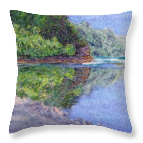 Rainbow Colors Pastel Throw Pillow featuring the painting Ke' E Beach In May by Kenneth Grzesik