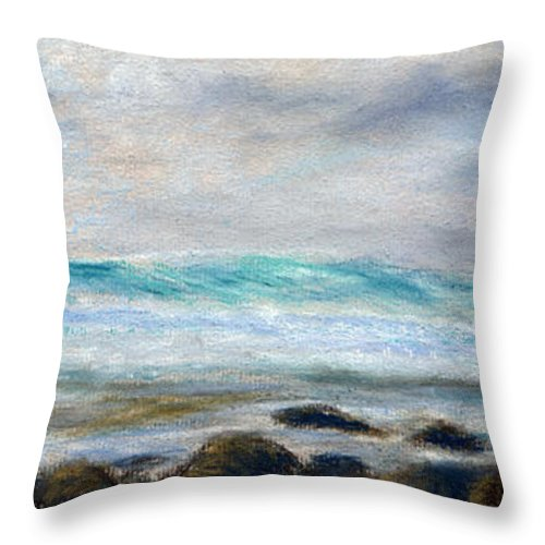 Rainbow Colors Pastel Throw Pillow featuring the painting Ke' E Wave by Kenneth Grzesik