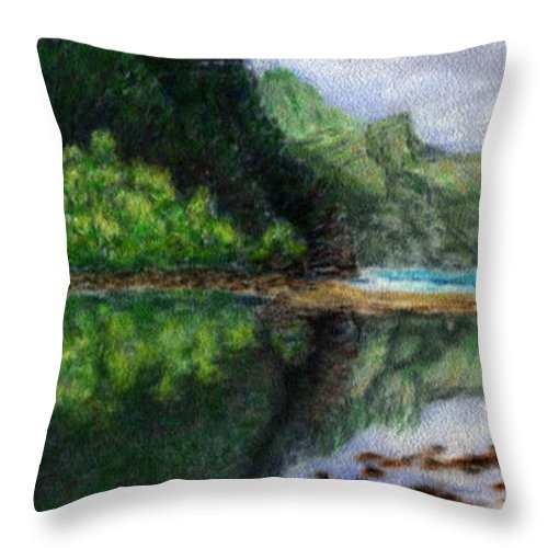 Rainbow Colors Pastel Throw Pillow featuring the painting Ke'e by Kenneth Grzesik