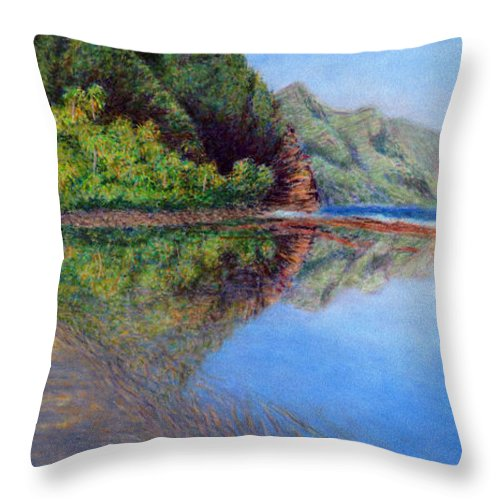 Rainbow Colors Pastel Throw Pillow featuring the painting Ke'e Morning by Kenneth Grzesik
