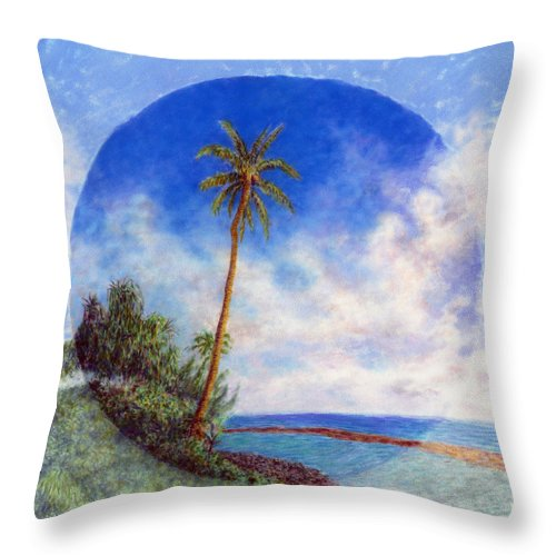 Rainbow Colors Pastel Throw Pillow featuring the painting Ke'e Palm by Kenneth Grzesik