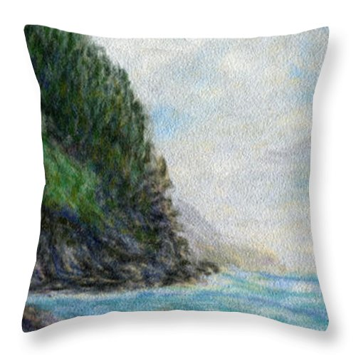 Rainbow Colors Pastel Throw Pillow featuring the painting Ke'e Rocks by Kenneth Grzesik