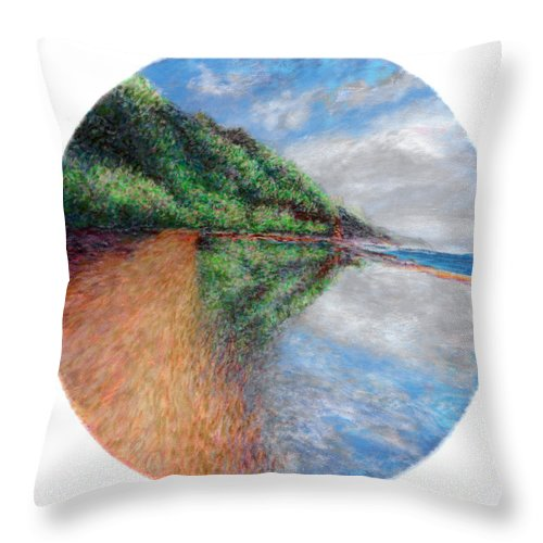Rainbow Colors Pastel Throw Pillow featuring the painting Ke'e Tondo by Kenneth Grzesik