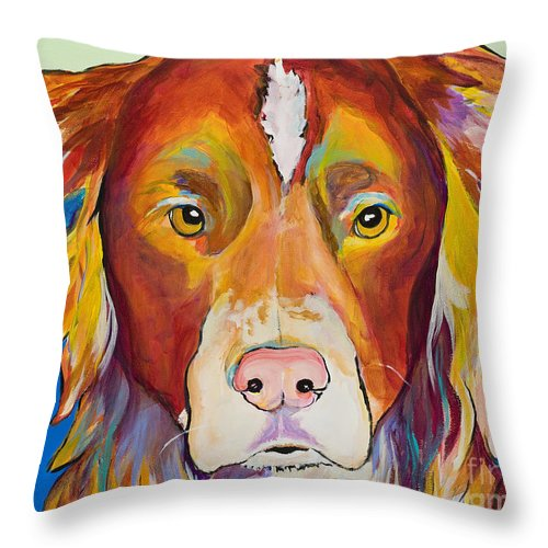 Australian Border Collie Throw Pillow featuring the painting Keef by Pat Saunders-White