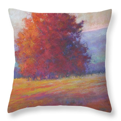 Trees Throw Pillow featuring the painting Keene Valley by Susan Williamson