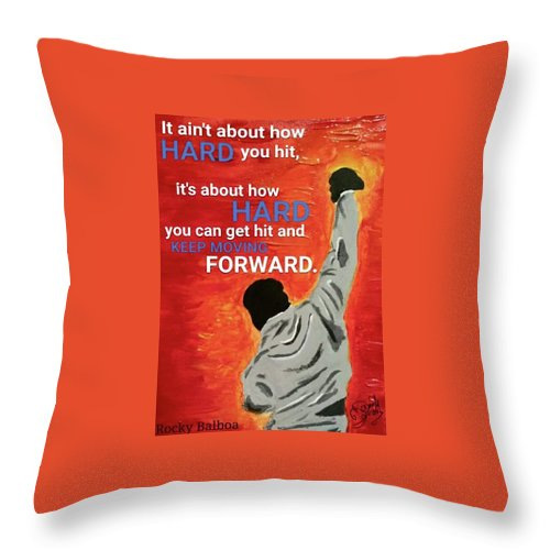 Rocky Throw Pillow featuring the painting Keep Moving Forward. by Daniel Donnelly