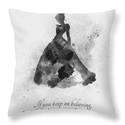 Cinderella Throw Pillow featuring the mixed media Keep On Believing Black And White by My Inspiration