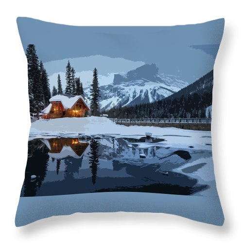 Landscape Throw Pillow featuring the painting Keep The Home Fires Burning For The Weary Winter Traveler by Elaine Plesser