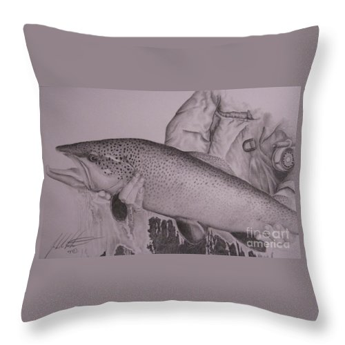 Wildlife Throw Pillow featuring the drawing Keeper by John Huntsman
