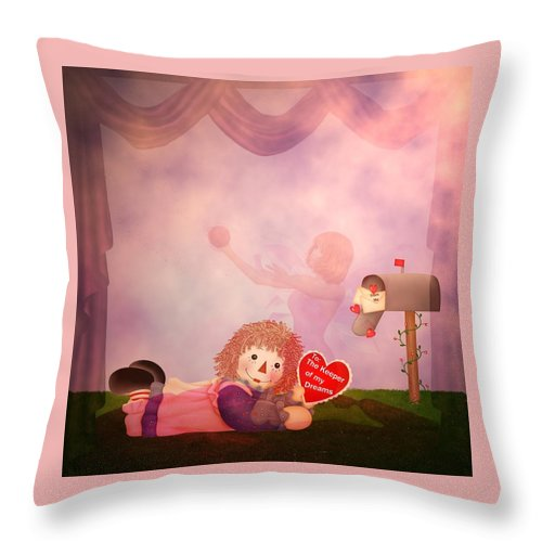 Valentine Throw Pillow featuring the digital art Keeper Of My Dreams by RiaL Treasures