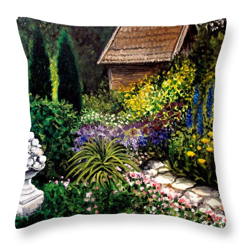 Landscape Throw Pillow featuring the painting Keeper Of The Garden by Elizabeth Robinette Tyndall