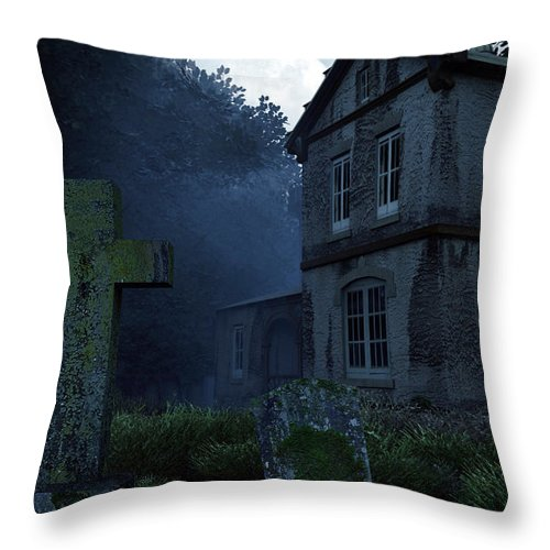 Dark Throw Pillow featuring the digital art Keepers Of The Manor by Richard Rizzo