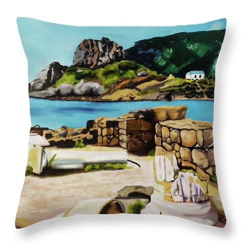 Throw Pillow featuring the painting Kefalos, Greece by Sam Papantoniou