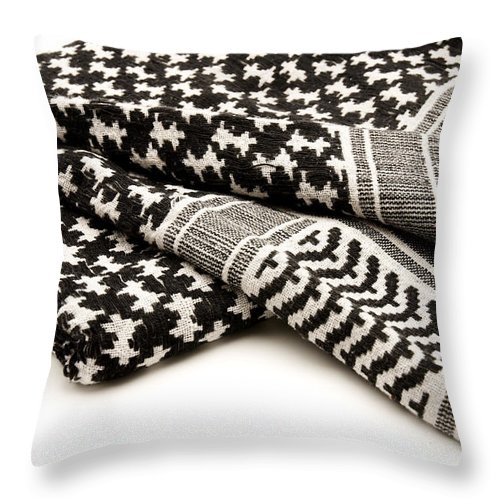 White Background Throw Pillow featuring the photograph Keffiyeh by Fabrizio Troiani