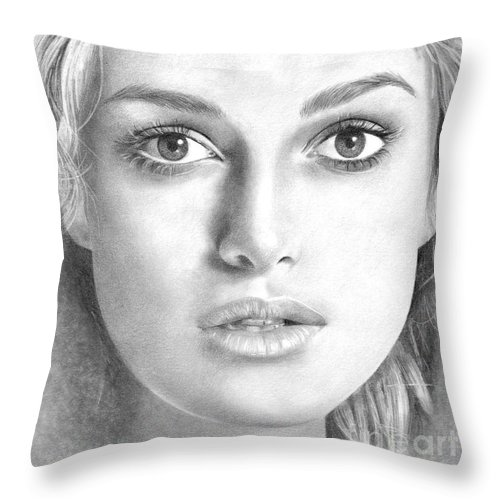 Keira Knightley Throw Pillow featuring the drawing Keira Knightley by Karen Townsend