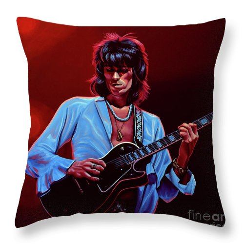 Keith Richards Throw Pillow featuring the painting Keith Richards The Riffmaster by Paul Meijering