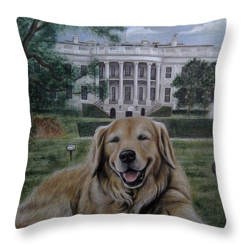 Kelli Throw Pillow featuring the drawing Kelli On The White House Lawn by Jonathan Anderson