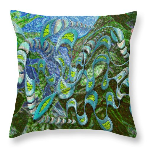 Surreal Throw Pillow featuring the digital art Kelp Dragon by Mark Sellers