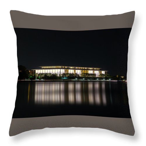 Night Throw Pillow featuring the photograph Kennedy Center by Sam Garvin