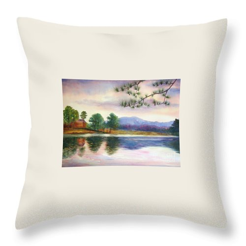 Marietta Throw Pillow featuring the painting Kennesaw Mt. by Ann Cockerill