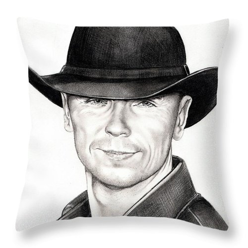Portrait Throw Pillow featuring the drawing Kenny Chesney by Murphy Elliott