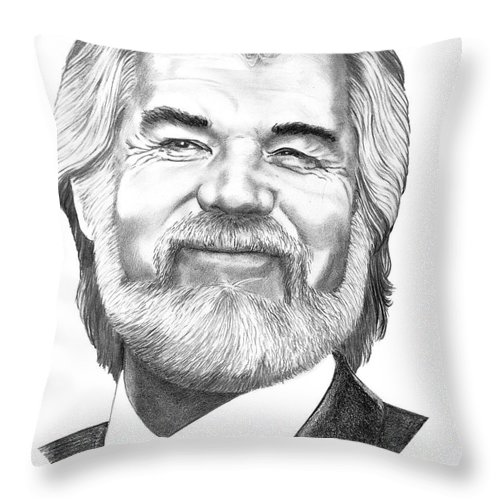 Music Throw Pillow featuring the drawing Kenny Rogers by Murphy Elliott